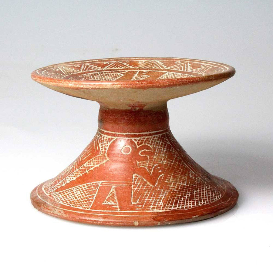 A Chorrera Incised Orangeware Pedestal, ca. 9th - 4th century B.C. - Sands of Time Ancient Art