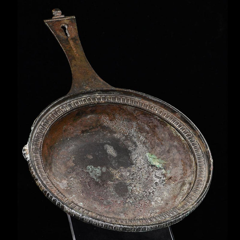 A Roman Military bronze Skillet with maker mark of Publius Cipius Polybius, Flavian Period (65-85 CE) - Sands of Time Ancient Art
