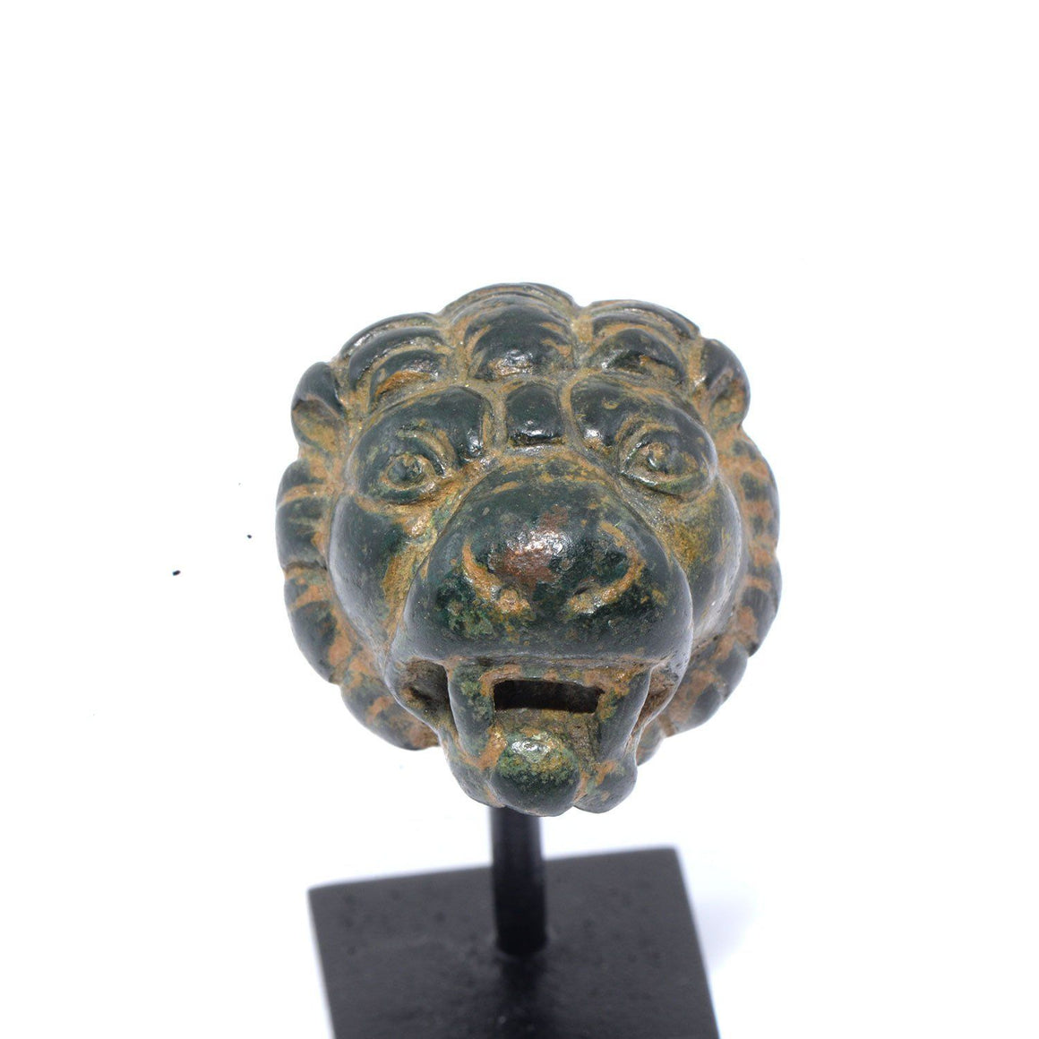 * A Roman Bronze Lion Head Whetstone Handle, Roman Imperial Period, ca. 1st century CE