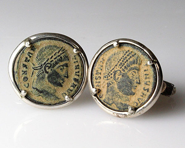 Bronze Coins of Constantine set as Cufflinks, ca 327-328 A.D.