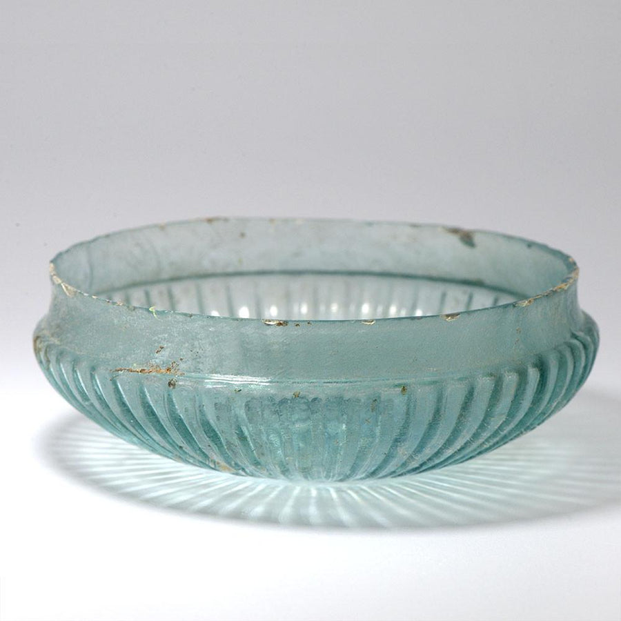 A Roman Glass Ribbed Shallow Bowl, Roman Imperial, 1st Century BCE - 1st Century CE - Sands of Time Ancient Art