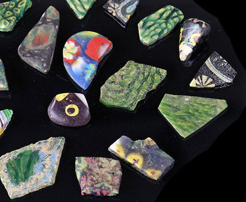 A group of Romano-Egyptian Mosaic Glass Vessel and Tile Fragments, ca 1st century BCE/CE - Sands of Time Ancient Art