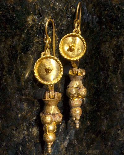 Roman Shield & Grape Earrings, ca 1st century AD - Sands of Time Ancient Art