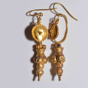 Roman Shield & Grape Earrings, ca 1st century CE - Sands of Time Ancient Art