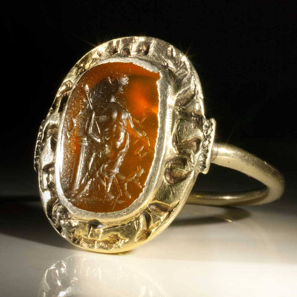 An important Medieval Ring with Roman Gemstone, ca. 12th - 13th century