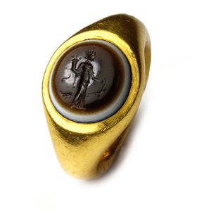 A Roman Eye-Agate Finger Ring with Fortuna Intaglio, ca. 1st Century BCE/CE - Sands of Time Ancient Art