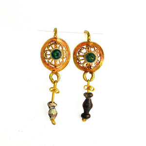A Pair of Roman Gold & Glass Drop Earrings, ca. 1st century BCE/CE - Sands of Time Ancient Art