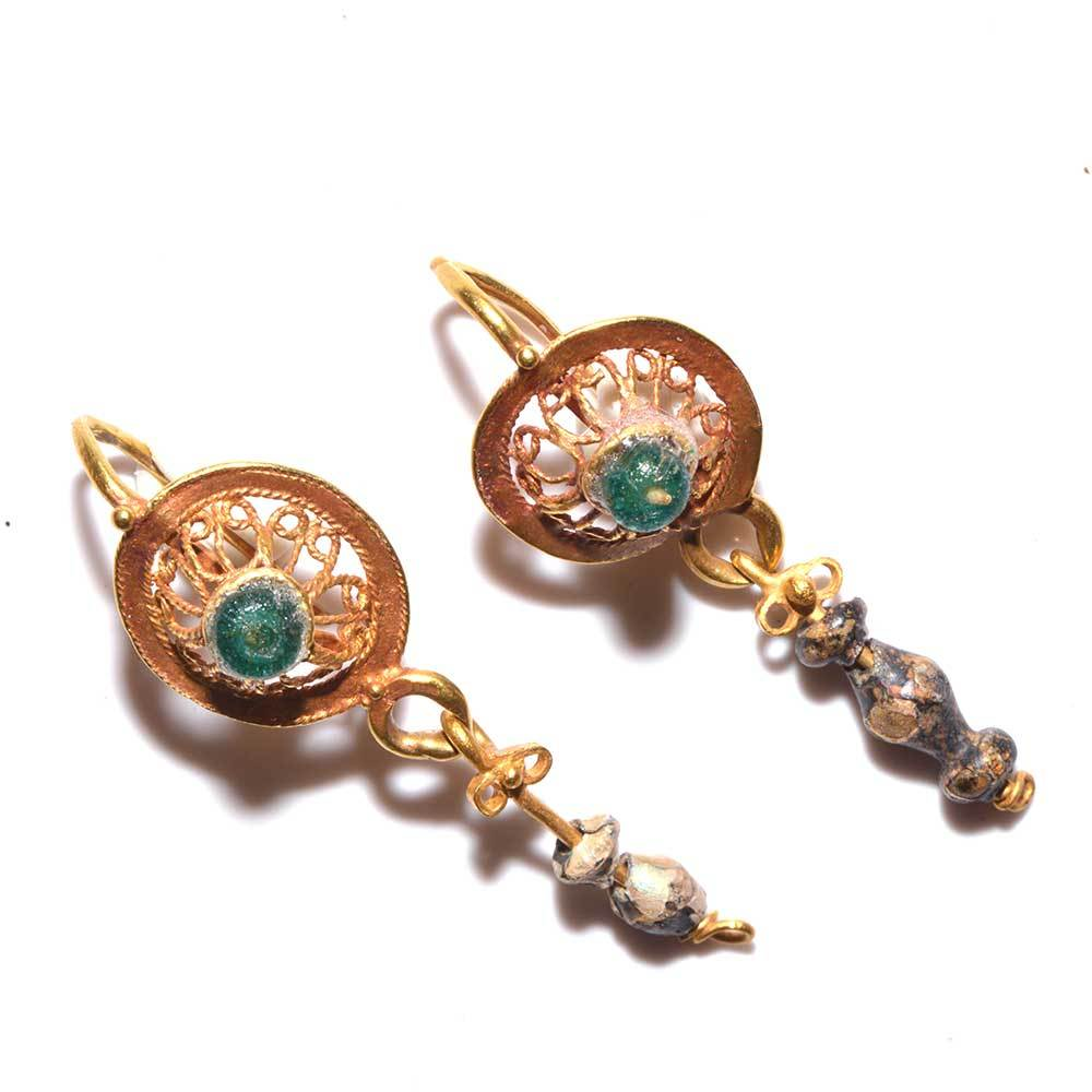 A Pair of Roman Gold & Glass Drop Earrings, ca. 1st century BC/AD - Sands of Time Ancient Art