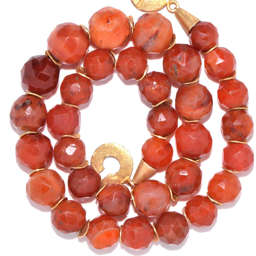 * A Roman Faceted Carnelian Bead Necklace, ca 2nd century AD