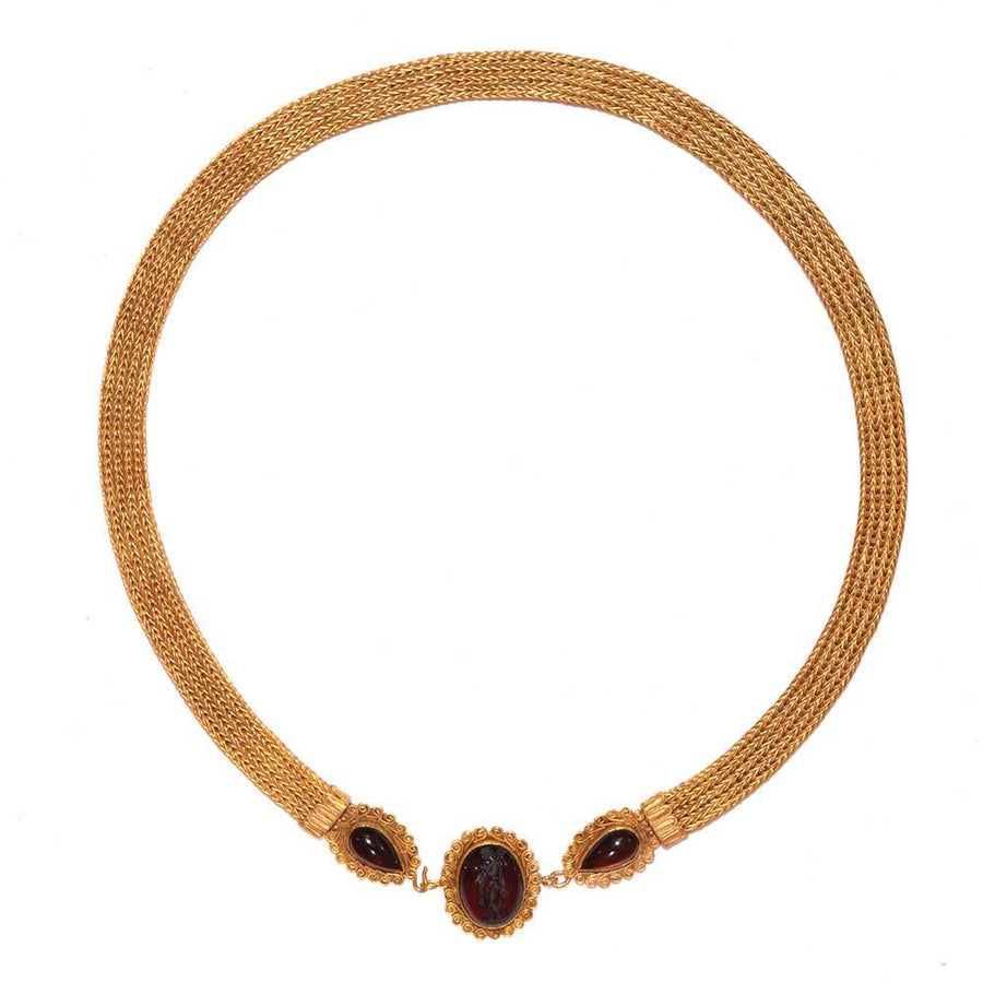 * A Greek Revival 18K Gold and Garnet Intaglio Necklace, 19th century, after the antique.