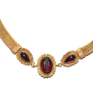 A Greek Revival 18K Gold and Garnet Intaglio Necklace, 19th century, after the antique. - Sands of Time Ancient Art