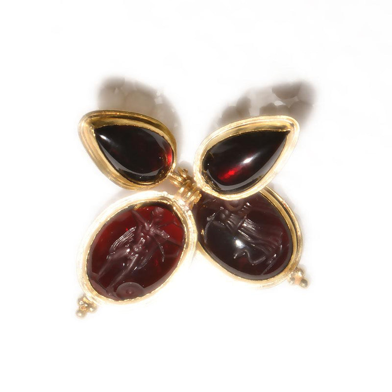 A pair of Greek Revival Gold Earrings with Garnet Intaglios, 19th Century - Sands of Time Ancient Art