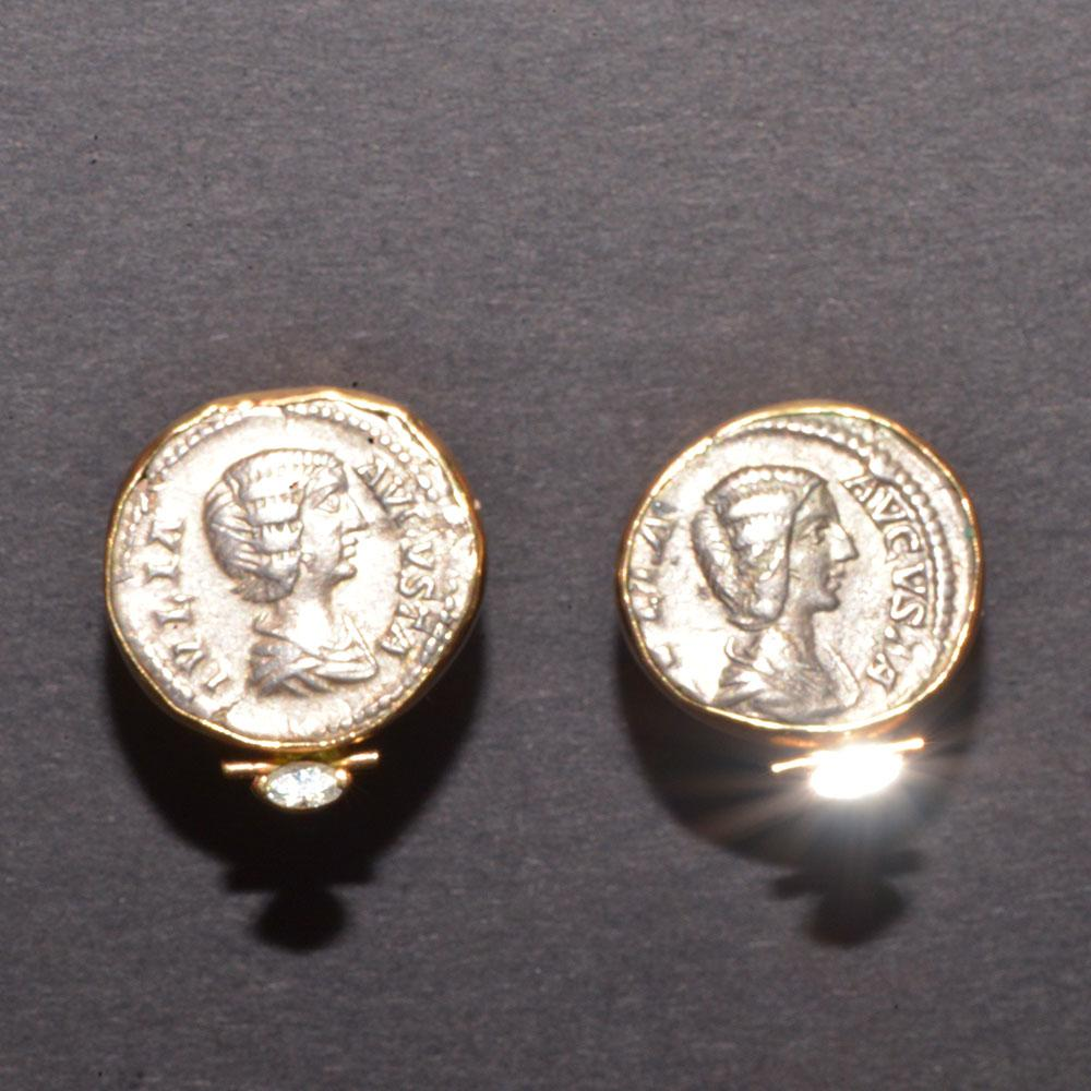 A pair of Julia Domna Denarius (ca. 196 - 217 AD) set as earrings - Sands of Time Ancient Art