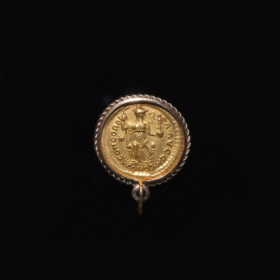 A gold Theodosius II solidus (ca. 408 - 450 CE) set as a pendant - Sands of Time Ancient Art