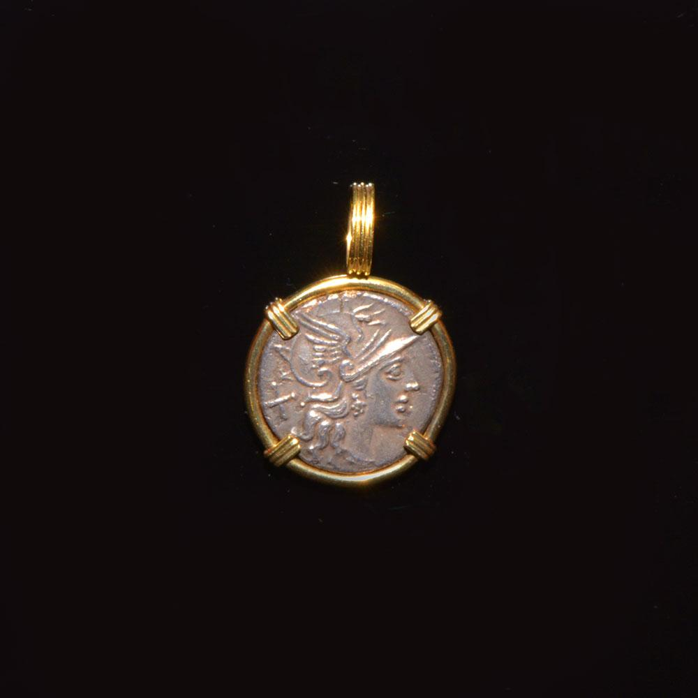 A Roman Republic silver denarius (ca. 151 BCE) set as a pendant - Sands of Time Ancient Art