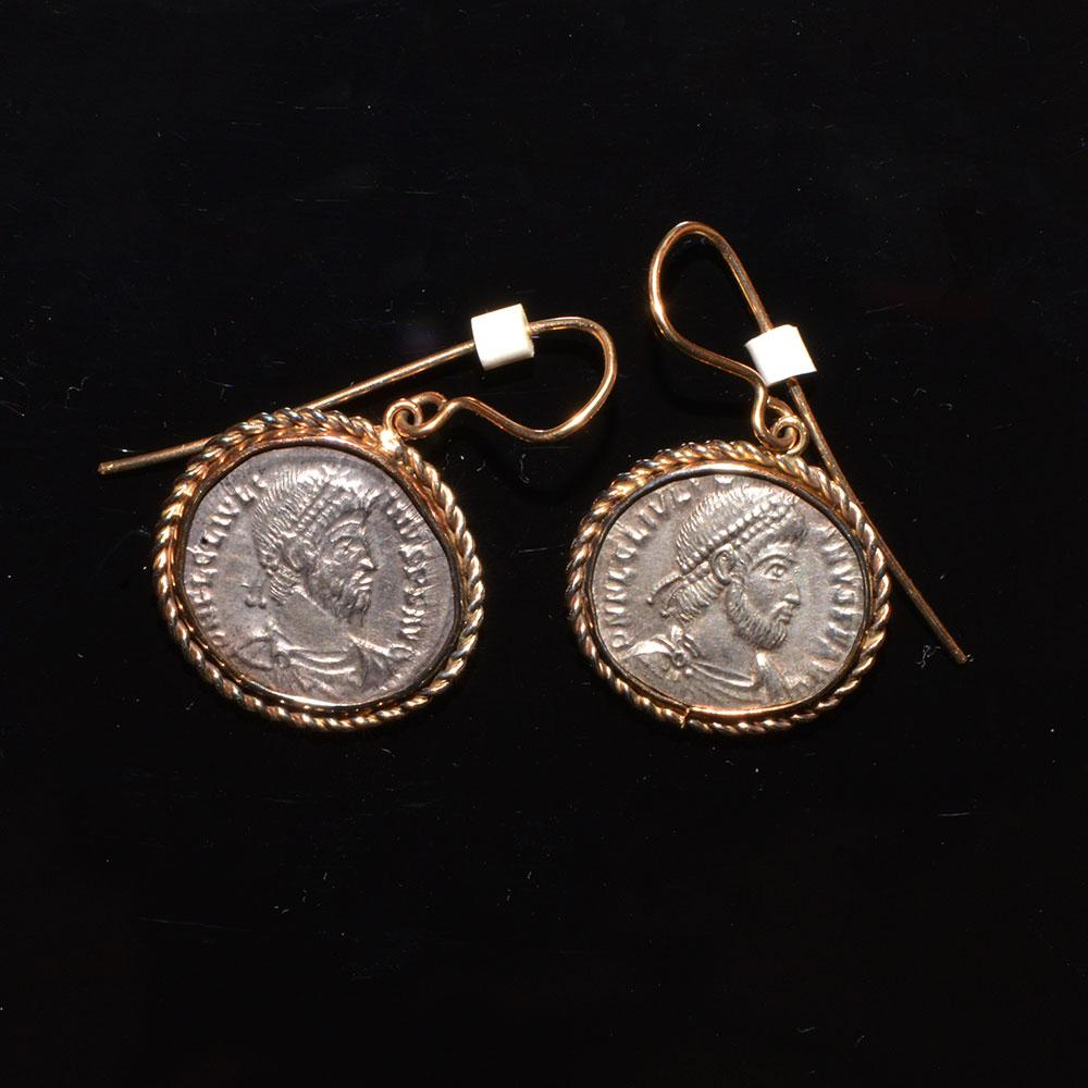 A pair of Roman silver Julian II siliqua c. 360 - 363 AD set as earrings - Sands of Time Ancient Art