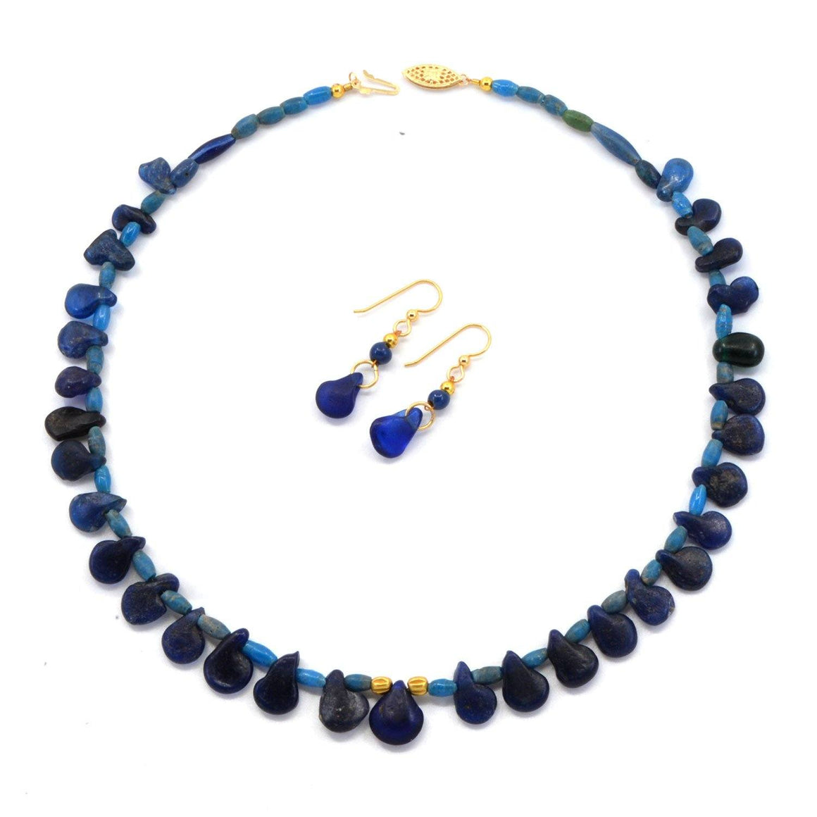 A Roman Blue Glass Necklace with Earrings, Roman Imperial Period, ca. 1st - 2nd Century AD - Sands of Time Ancient Art