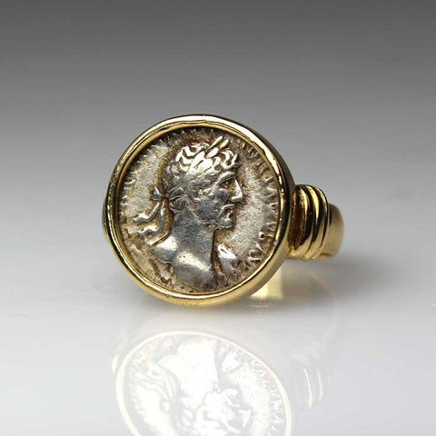 A Roman Hadrian denarius set as a Ring, ca 3rd century AD - Sands of Time Ancient Art