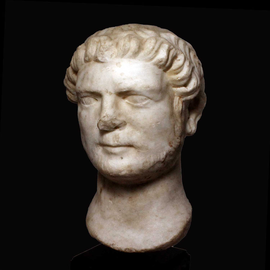 * A Roman marble portrait head of the Emperor Hadrian, 117 - 138 AD