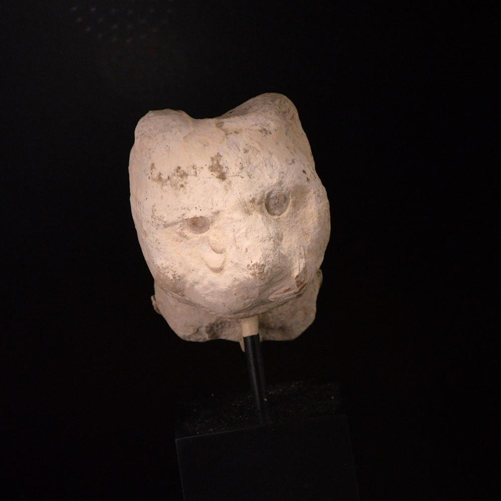 An Egyptian Limestone Head of a Cat, Late - Ptolemaic Period, ca. 664 - 332 BC - Sands of Time Ancient Art