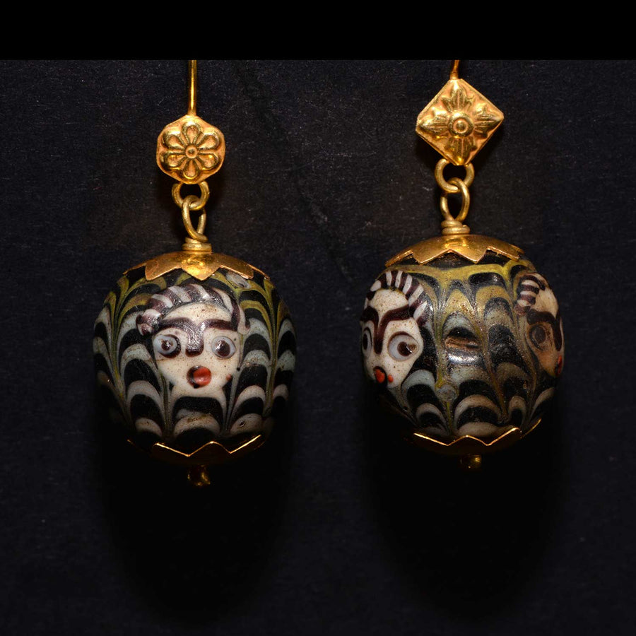 * A pair of Byzantine Glass Bead Earrings, ca. 4th century AD - Sands of Time Ancient Art