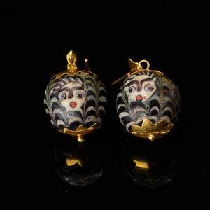 * A pair of Byzantine Glass Bead Earrings, ca. 4th century CE - Sands of Time Ancient Art