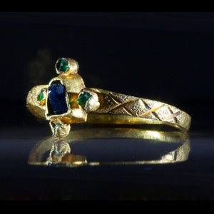 A Gothic Gold, Sapphire & Emerald Ring, ca 13th-14th century A.D. - Sands of Time Ancient Art