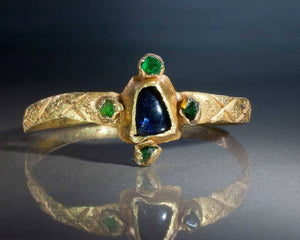 A Gothic Gold, Sapphire & Emerald Ring, ca 13th-14th century CE - Sands of Time Ancient Art