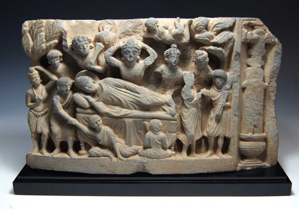 A frieze depicting Parinirvana, Gandhara, ca. 2nd - 3rd century A.D. - Sands of Time Ancient Art
