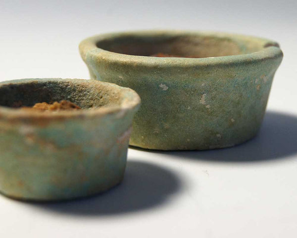 Two Egyptian Faience offering Cups with contents, Dynasty 26, 664-525 BC