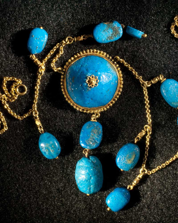 An Egyptian Azure-glazed Scarab Necklace, 18th Dynasty, Amarna Period ca 1360 BC - Sands of Time Ancient Art