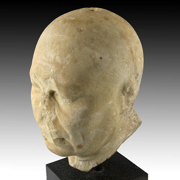 An Egyptian Alexandrian Portrait Head of a Priest, Late Ptolemaic Period ca 50 - 25 BCE - Sands of Time Ancient Art