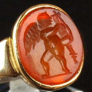 A Roman Carnelian Intaglio Ringstone of Eros, ca. 2nd Century CE - Sands of Time Ancient Art