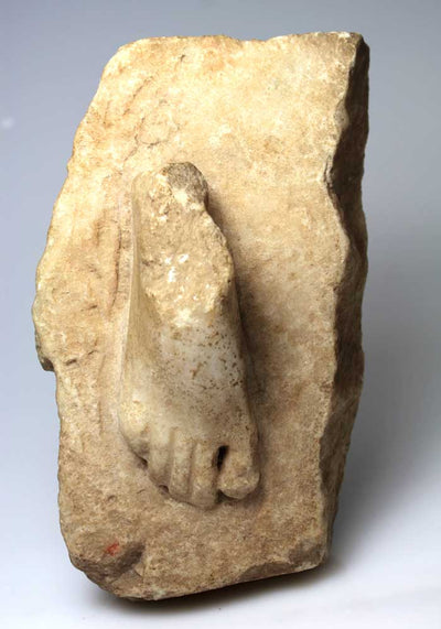 A Greco-Roman Statue Base with Foot, ca 1st century BC/AD - Sands of Time Ancient Art