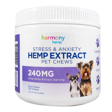 Harmony Hemp Pet Chews - Duck Flavor - 240 mg - 120 Count (2 Options)