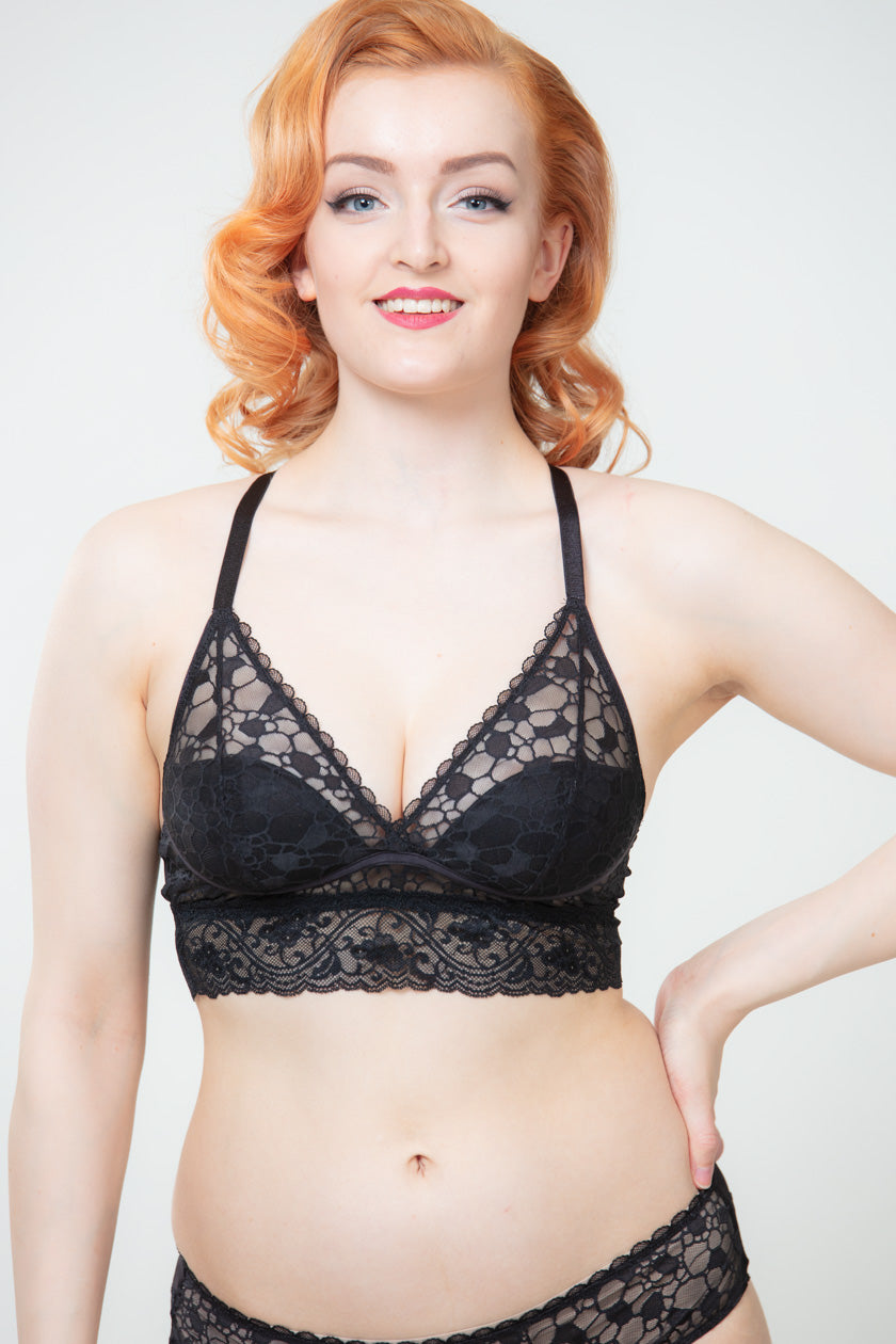 Wonderbra Triangle Push-up Mustat Bralette Rintaliivit