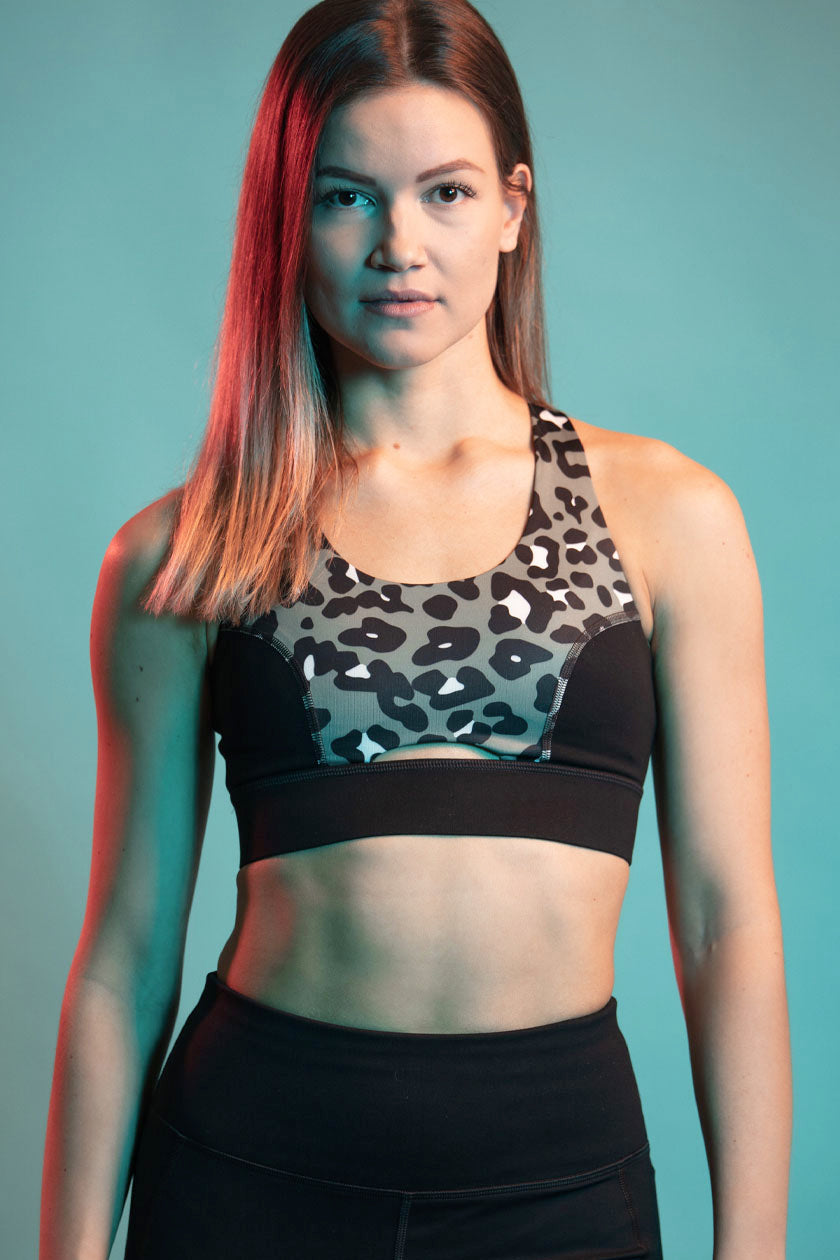 Cross Back Leopard Print Sports Bra