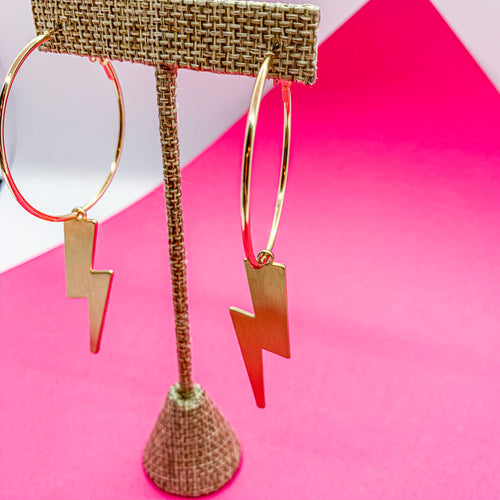 Laynne Lightening Bolt Hoops