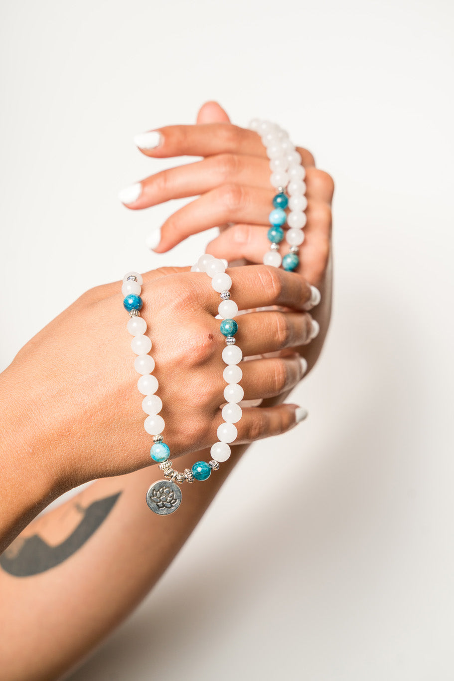 Natural White Chalcedony With Apatite Mala