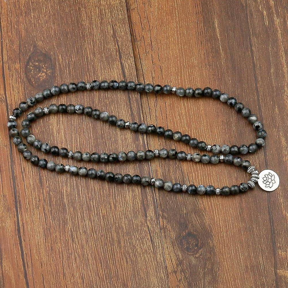 Natural Labradorite Flashstone Mala