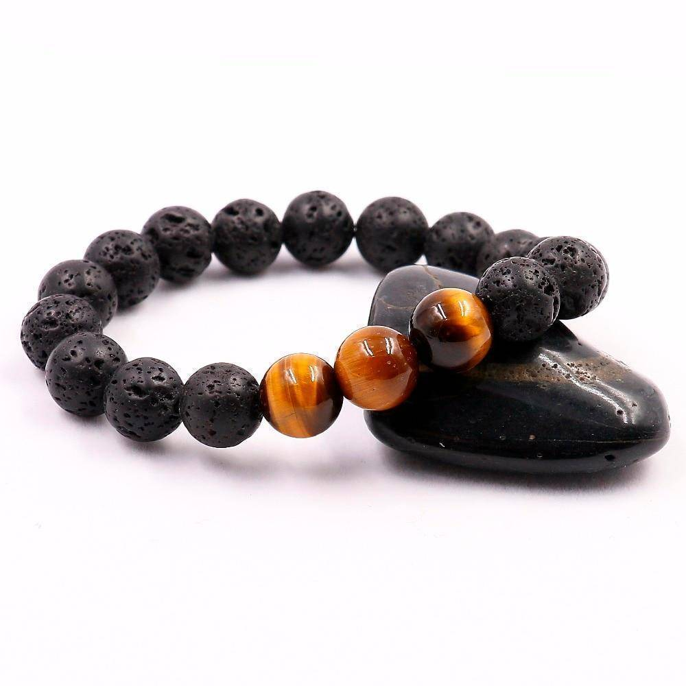 Natural Lava Stone Bracelet with Tiger Eye Beads