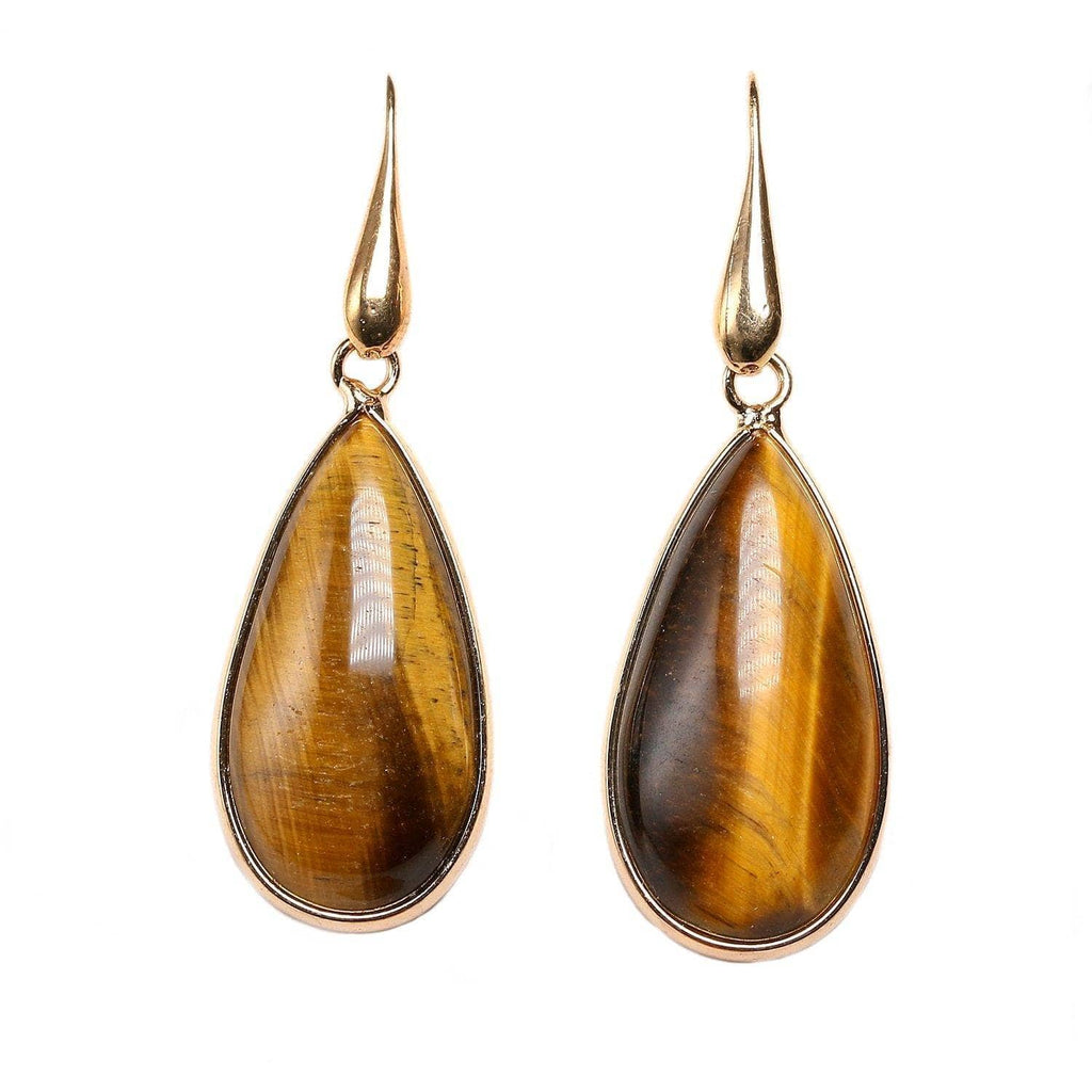 Natural Tiger Eye Stone Drop Earrings