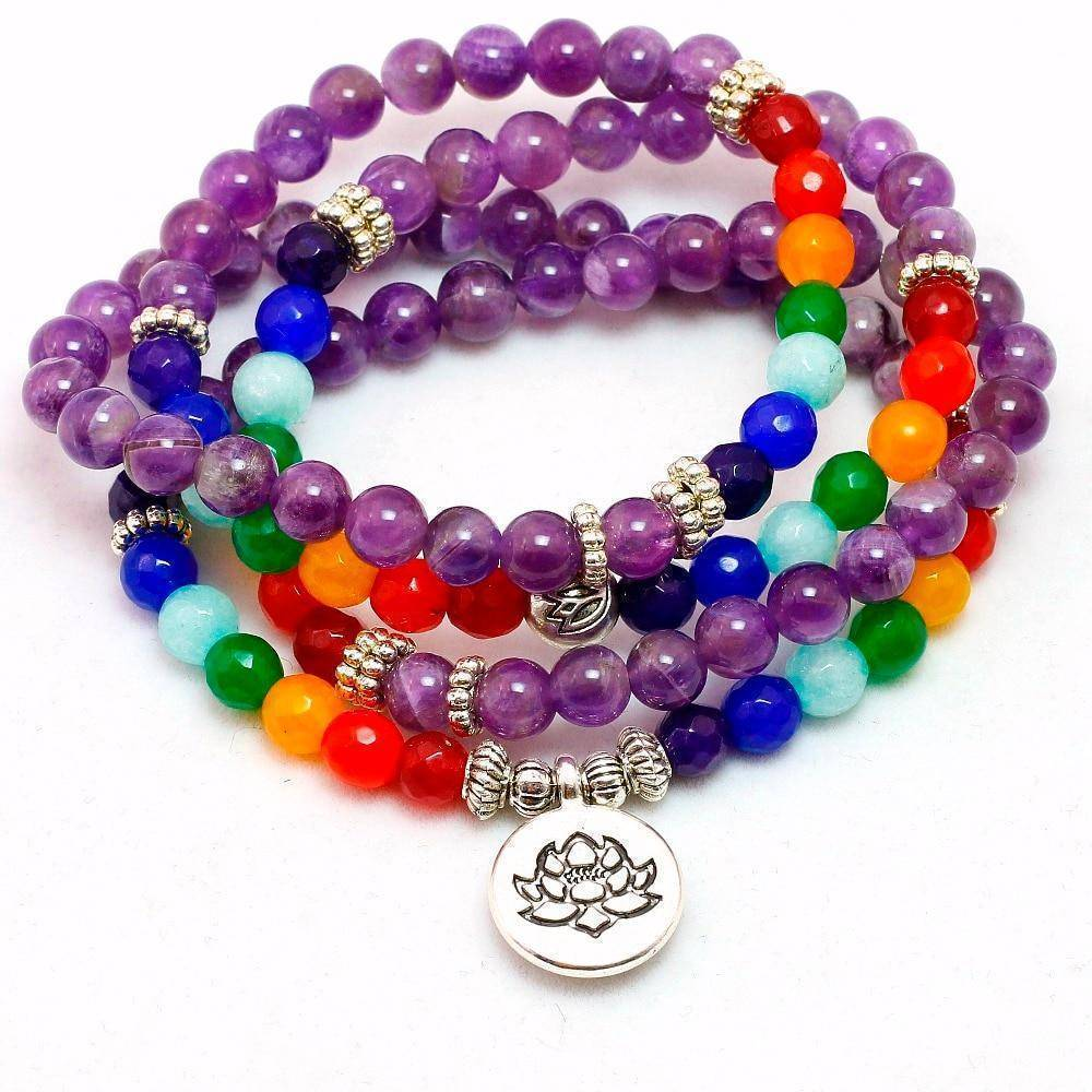 Purple Amethyst Mala with Seven Chakra Beads
