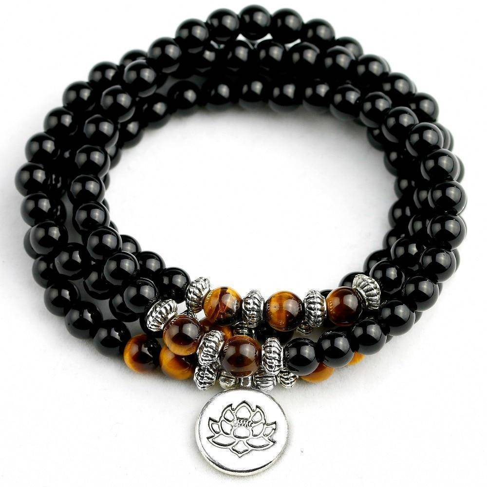 Natural Black Onyx Mala with Tiger Eye Beads