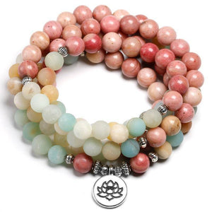 Natural Rhodochrosite Mala With Amazonite Beads