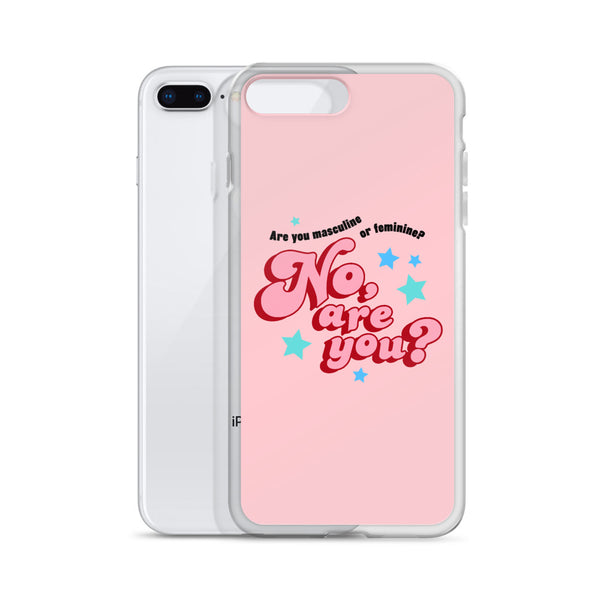 are you masculine or feminine - iphone case, pink