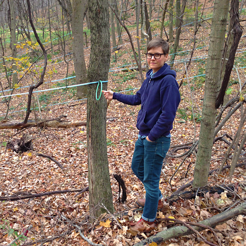 Crown Maple's Madava Farms: Chef Melinda taking a looking a look at some maple tree taps.