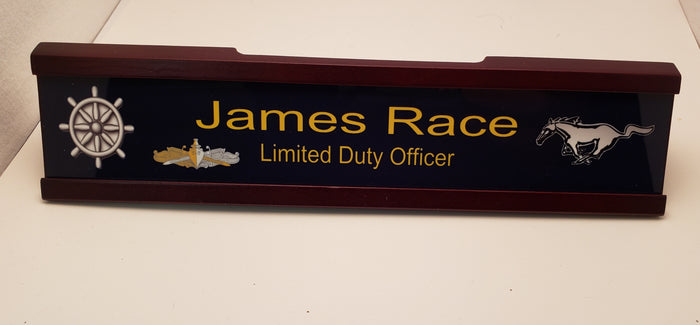 Custom U.S. Navy Mustang Mohogony Executive Desk Nameplate