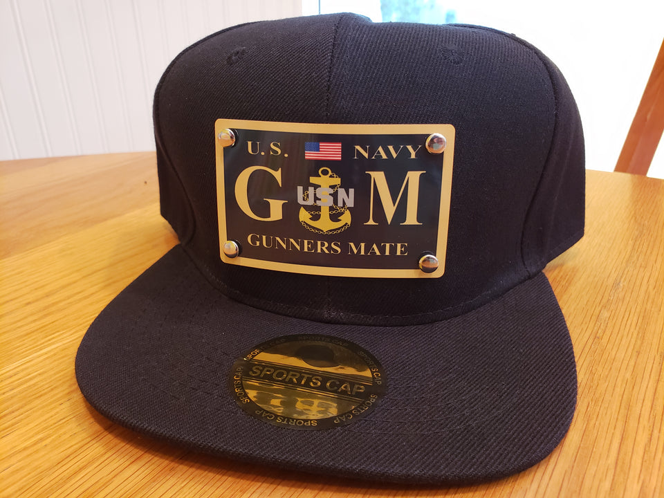 Custom Gunners Mate Snap Back Hat in Black