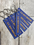 Navy Mustang Embroidered Keychain